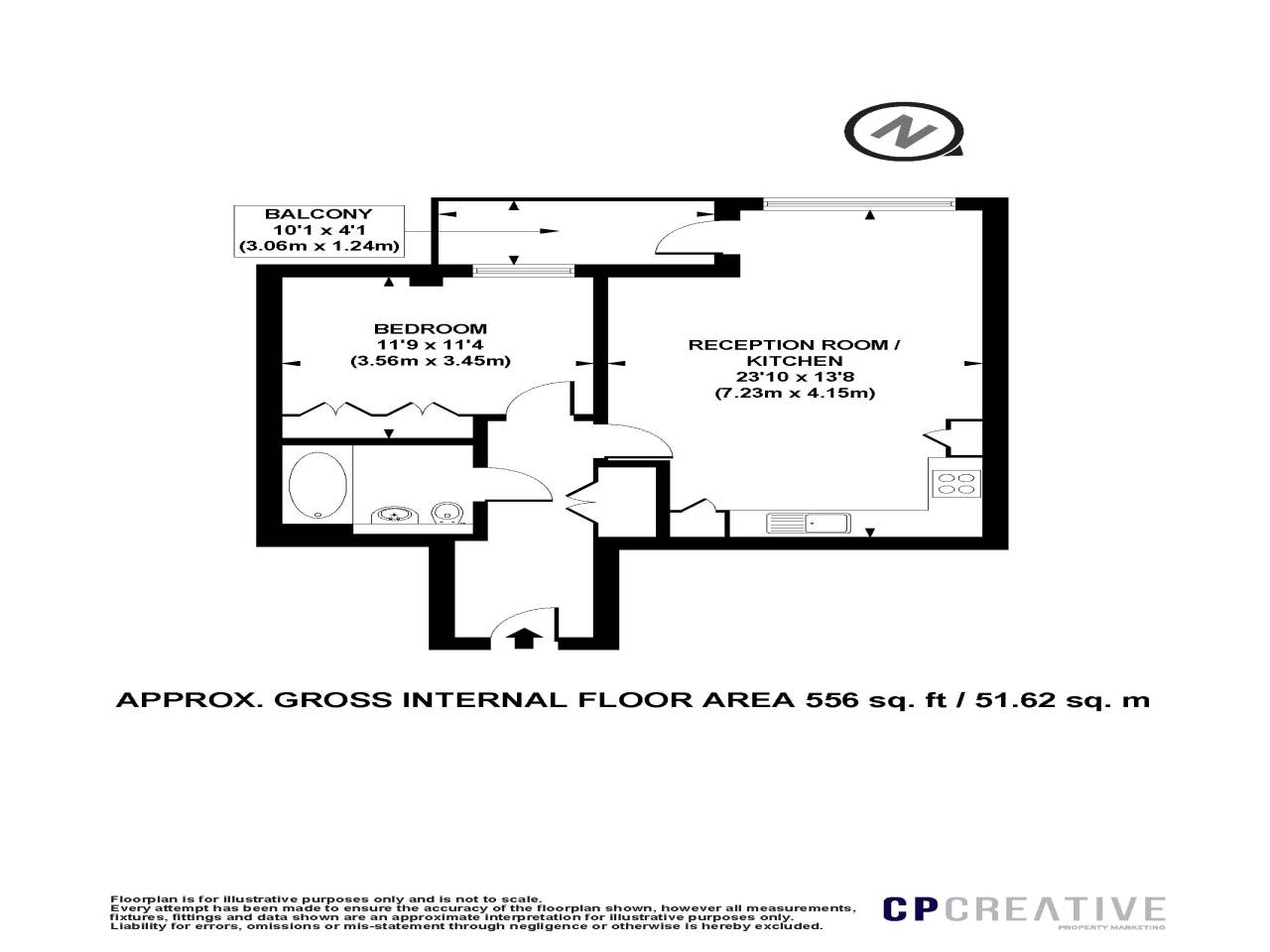 1 bed flat for sale in Spenlow Apartments , Wenlock Road - Property Floorplan