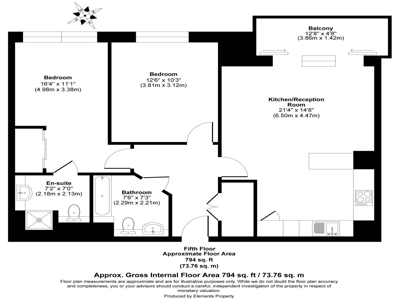 2 bed flat for sale in Fathom Court, 2 Basin Approach - Property Floorplan