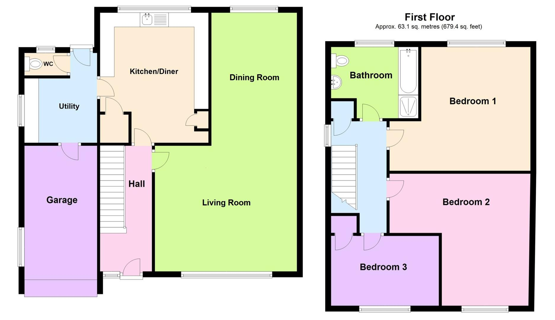 3 bed detached house for sale in Lutton Gowts, Lutton Spalding - Property Floorplan