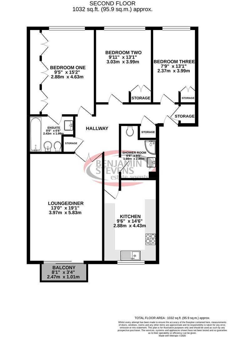 3 bed flat for sale in Hale Lane, Edgware - Property Floorplan