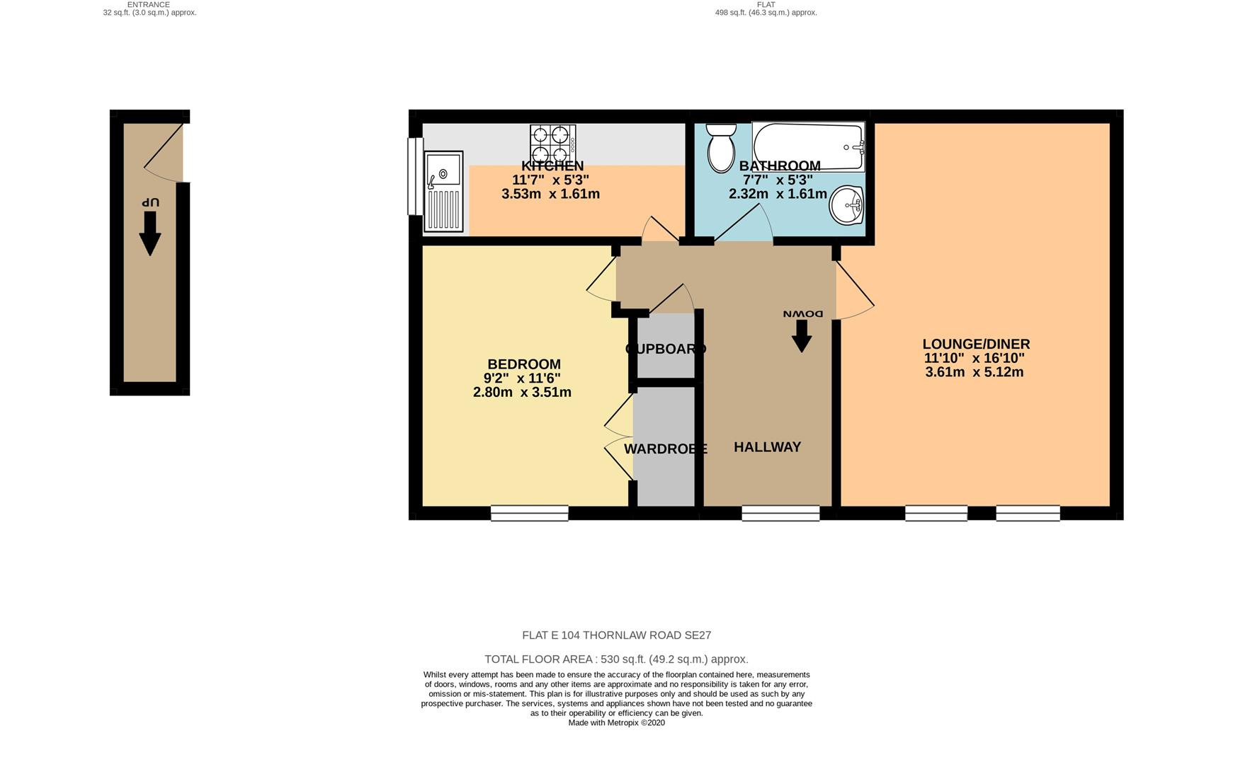 1 bed flat for sale in Thornlaw Road, London - Property Floorplan