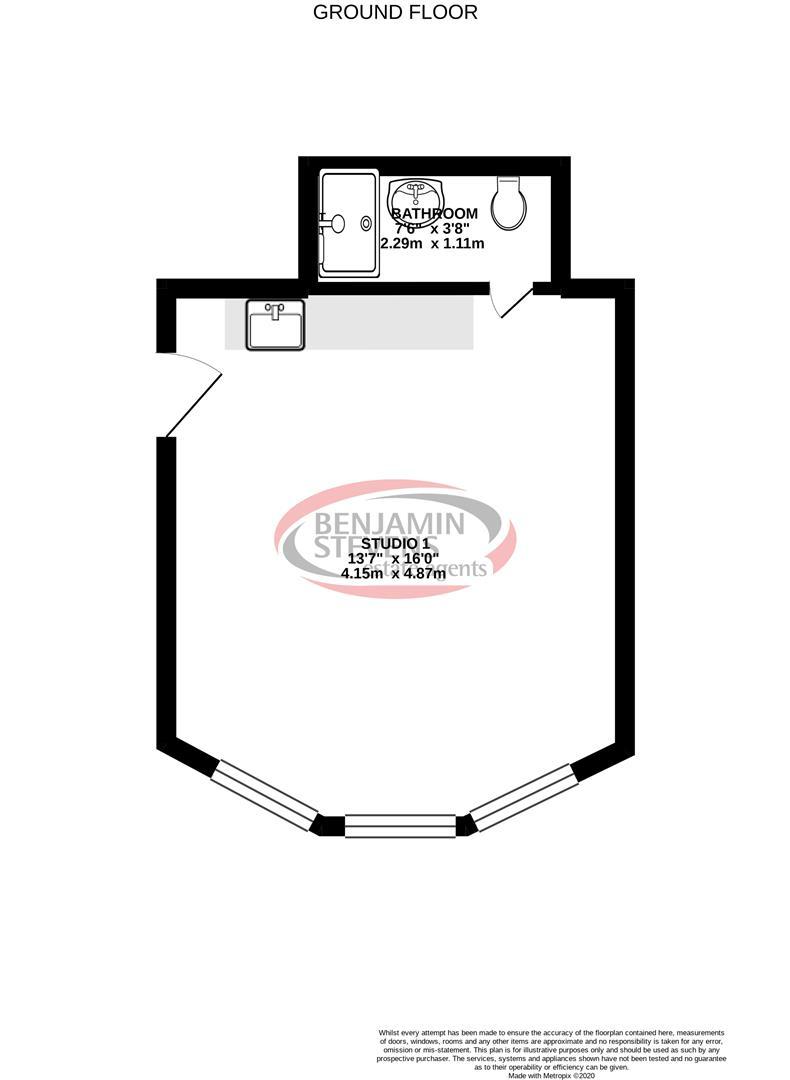 Studio flat to rent in Brownhill Road, London - Property Floorplan