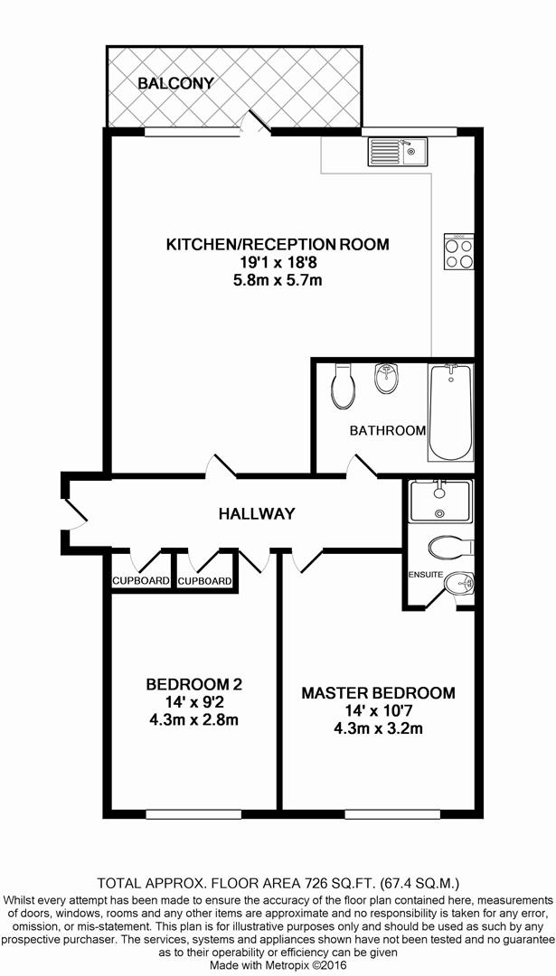 2 bed flat for sale in Hayling Way, Edgware - Property Floorplan