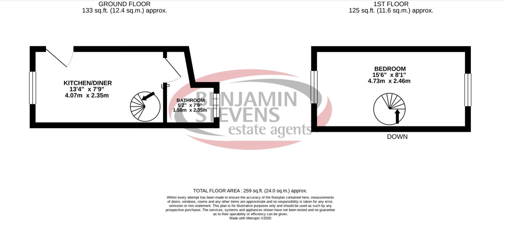 1 bed studio flat to rent in Malvern Avenue, Harrow - Property Floorplan