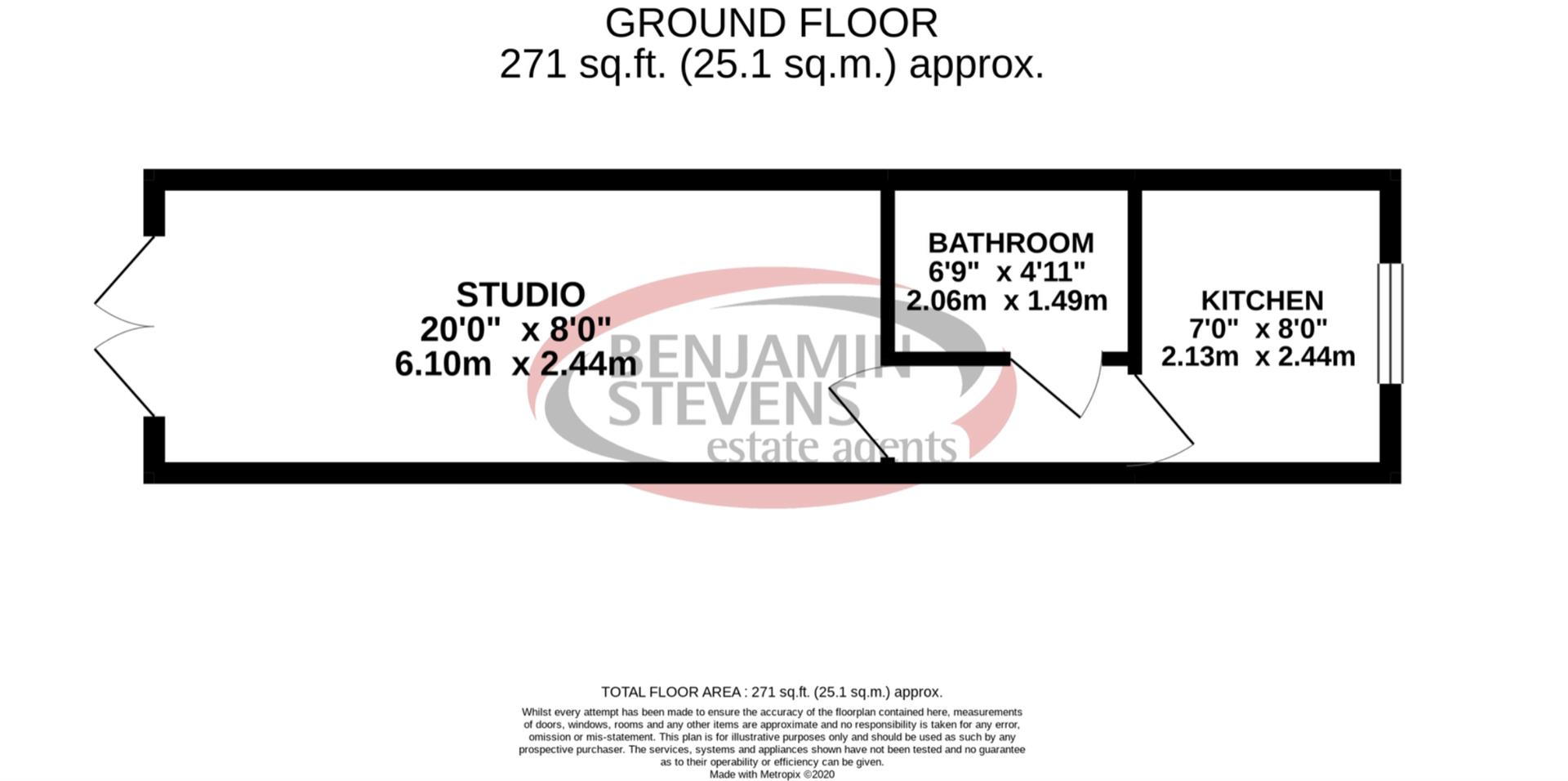Studio flat to rent in Danethorpe Road, Wembley - Property Floorplan