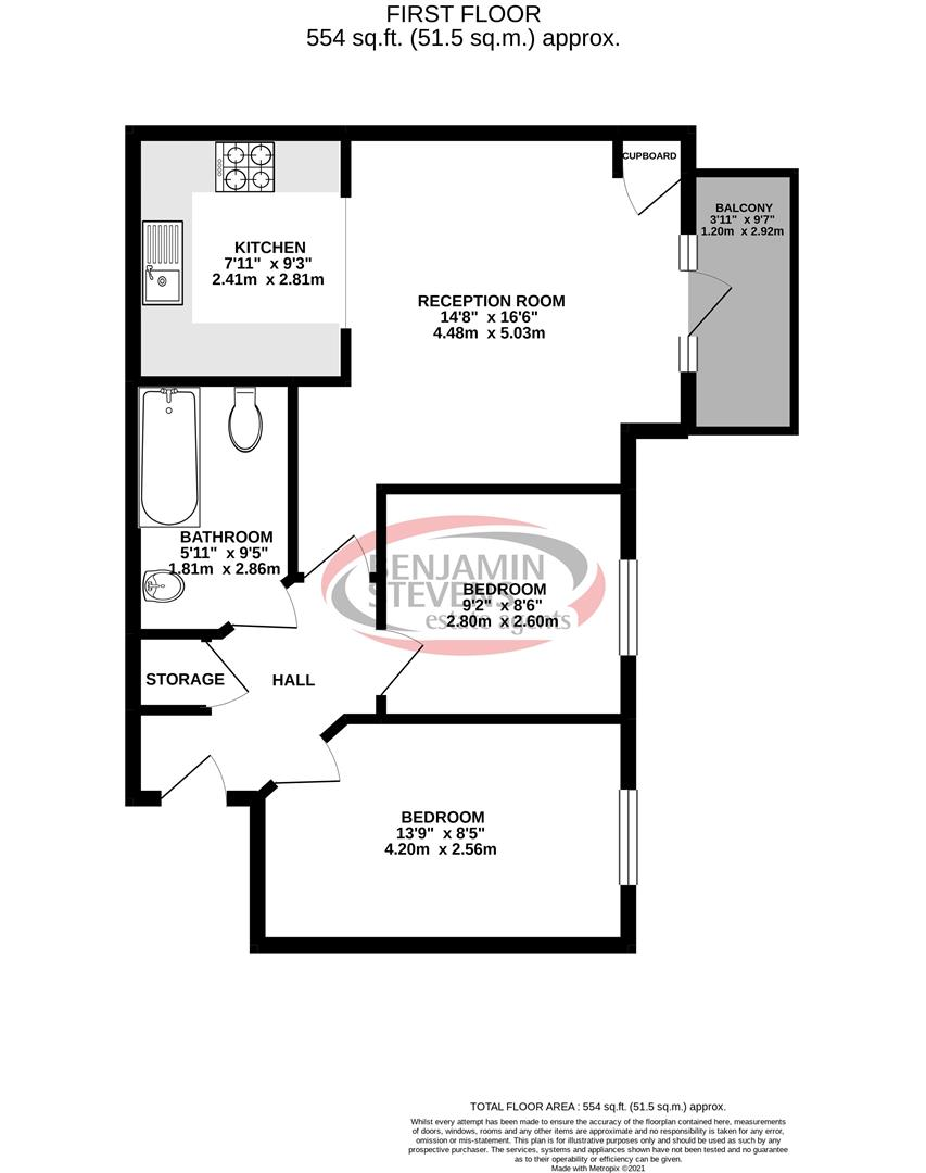 2 bed flat for sale in Todd Close, Borehamwood - Property Floorplan