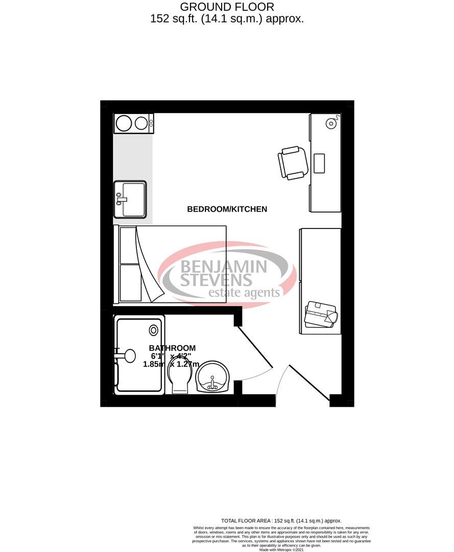 1 bed studio flat for sale in Park Street, Luton - Property Floorplan