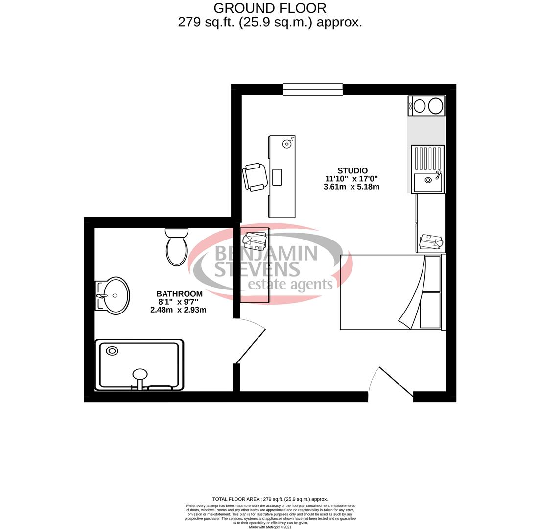 1 bed apartment for sale in Park Street, Luton - Property Floorplan
