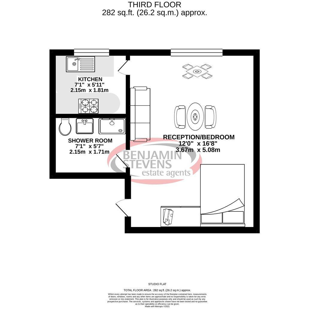Studio flat to rent in Nottingham Place, London - Property Floorplan