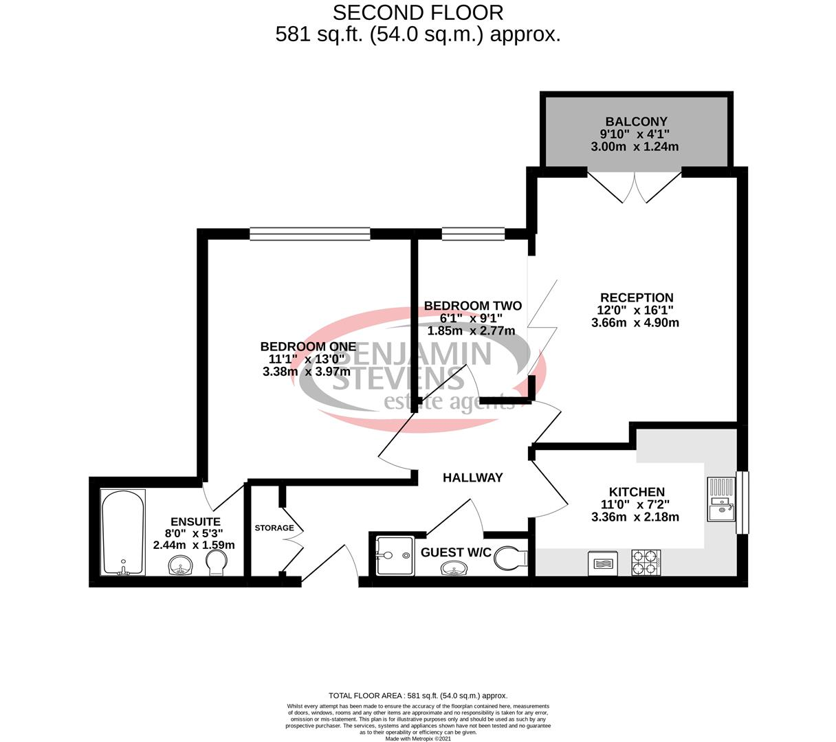 2 bed flat for sale in Eaton Court, Edgware Way - Property Floorplan
