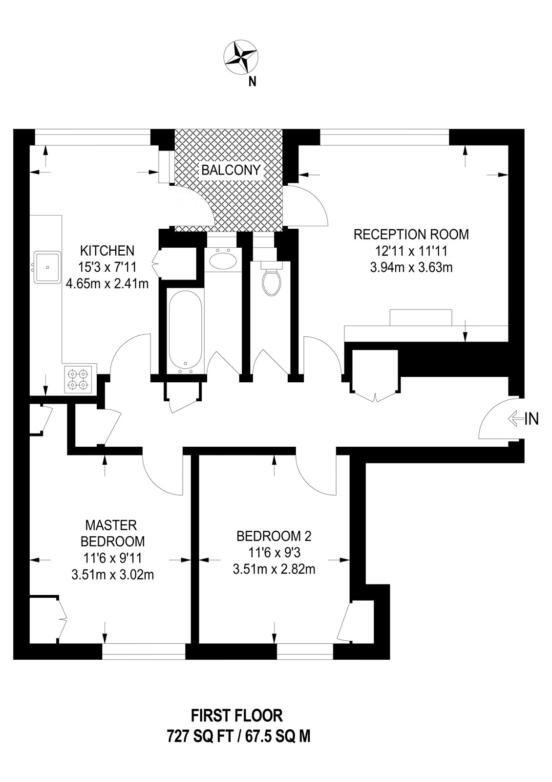 2 bed flat for sale in Wimbledon - Property Floorplan