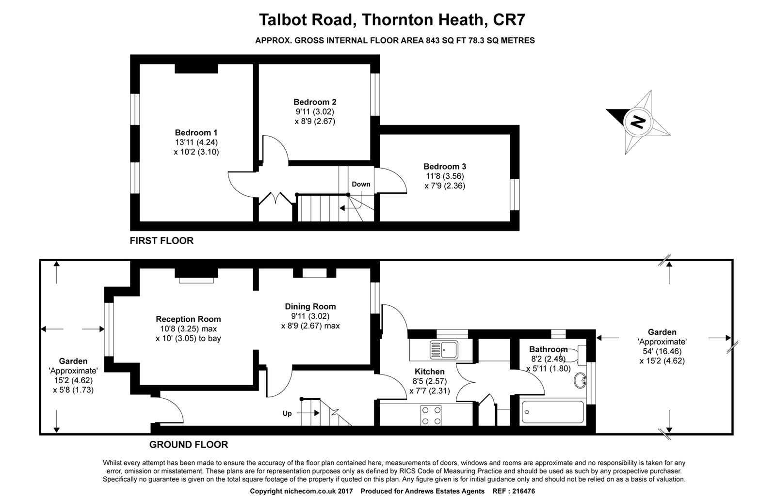 3 bed house for sale in Thornton Heath - Property Floorplan