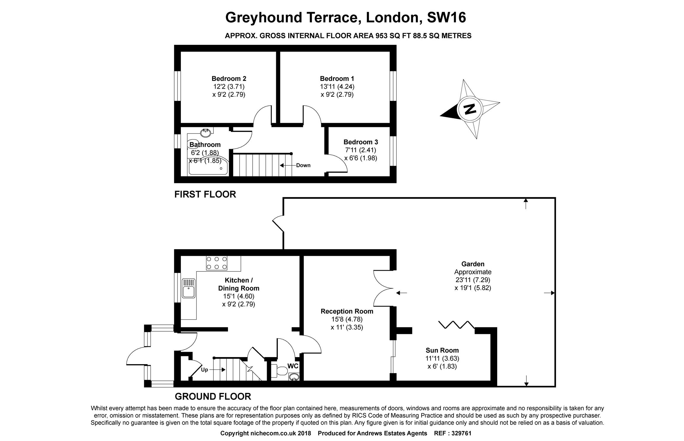 3 bed house for sale in Streatham - Property Floorplan