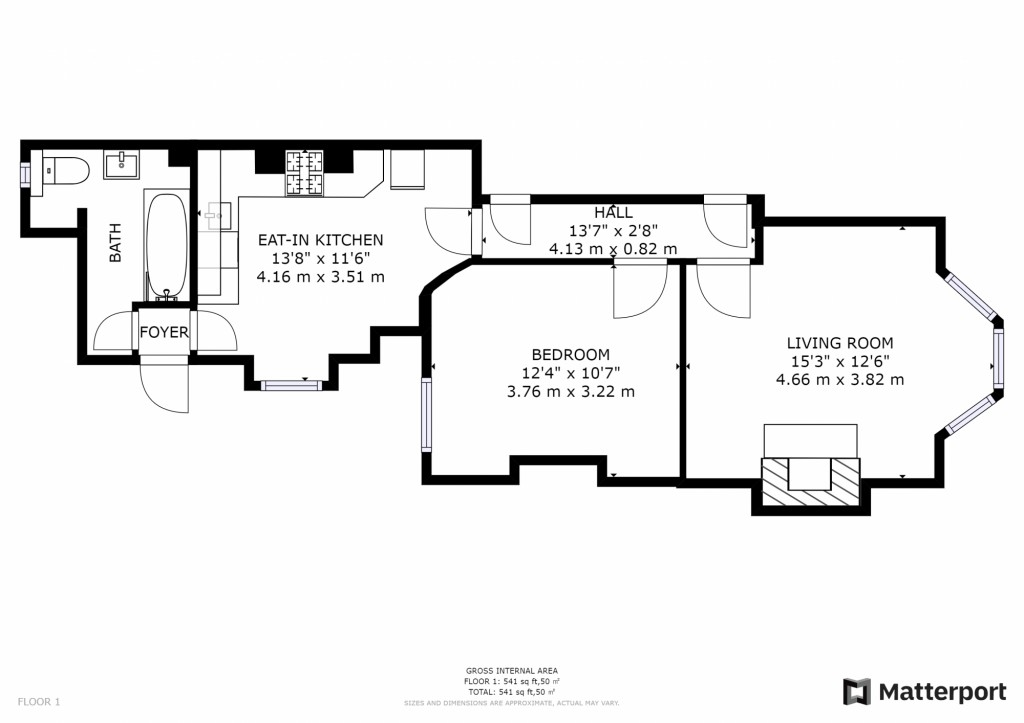 1 bed apartment for sale in Brixton Hill - Property Floorplan