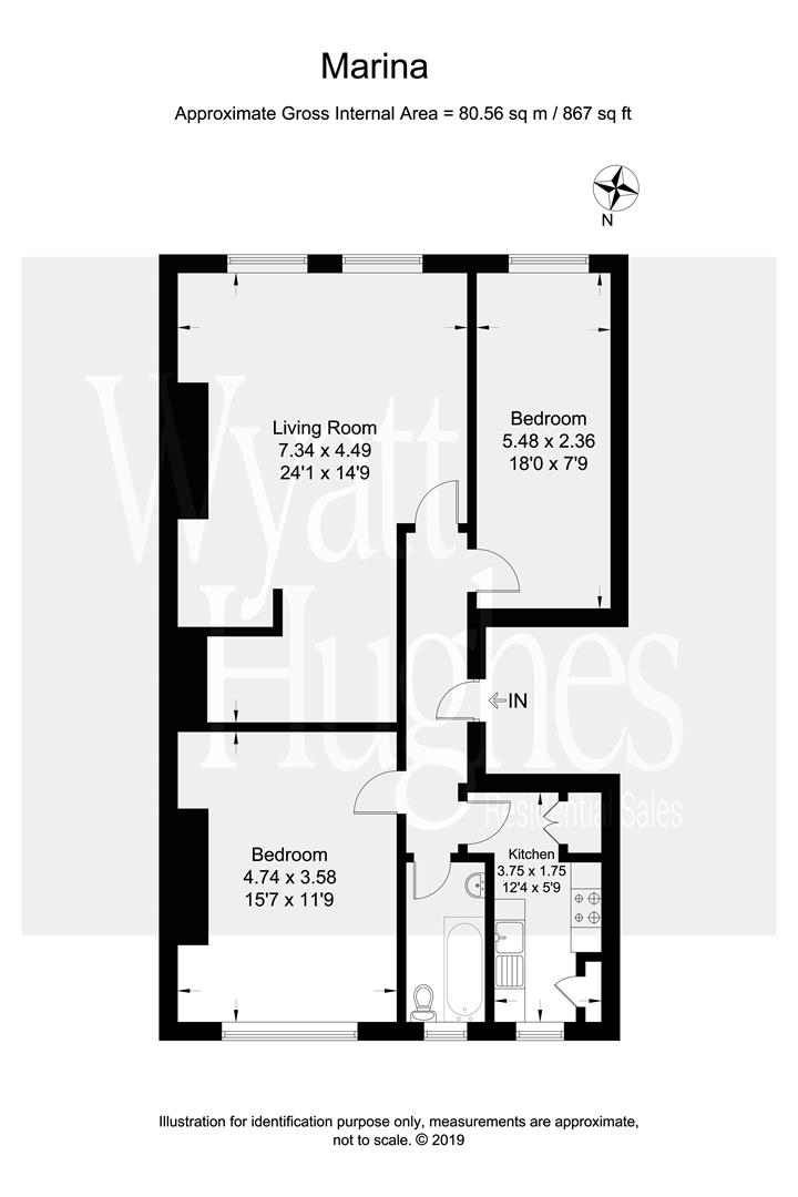 2 bed apartment for sale in Marina, St. Leonards-On-Sea - Property Floorplan