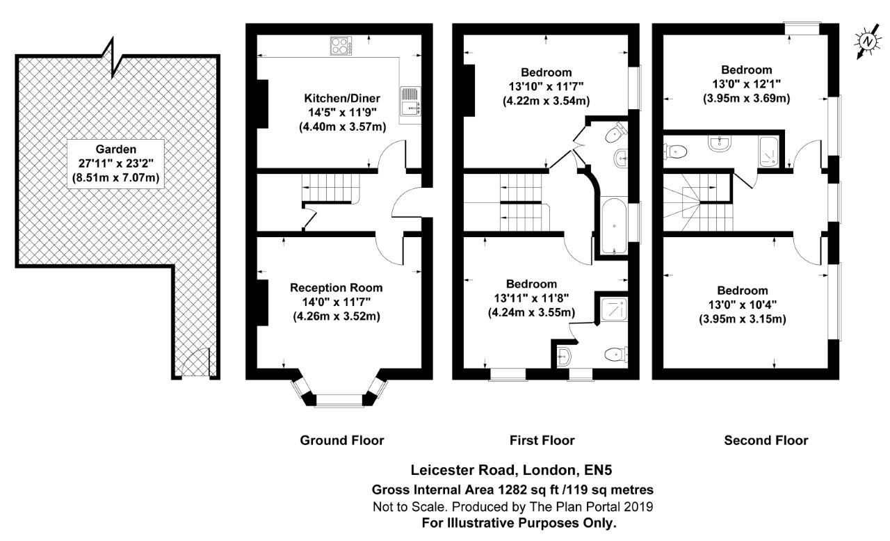4 bed house to rent in Leicester Road, New Barnet - Property Floorplan