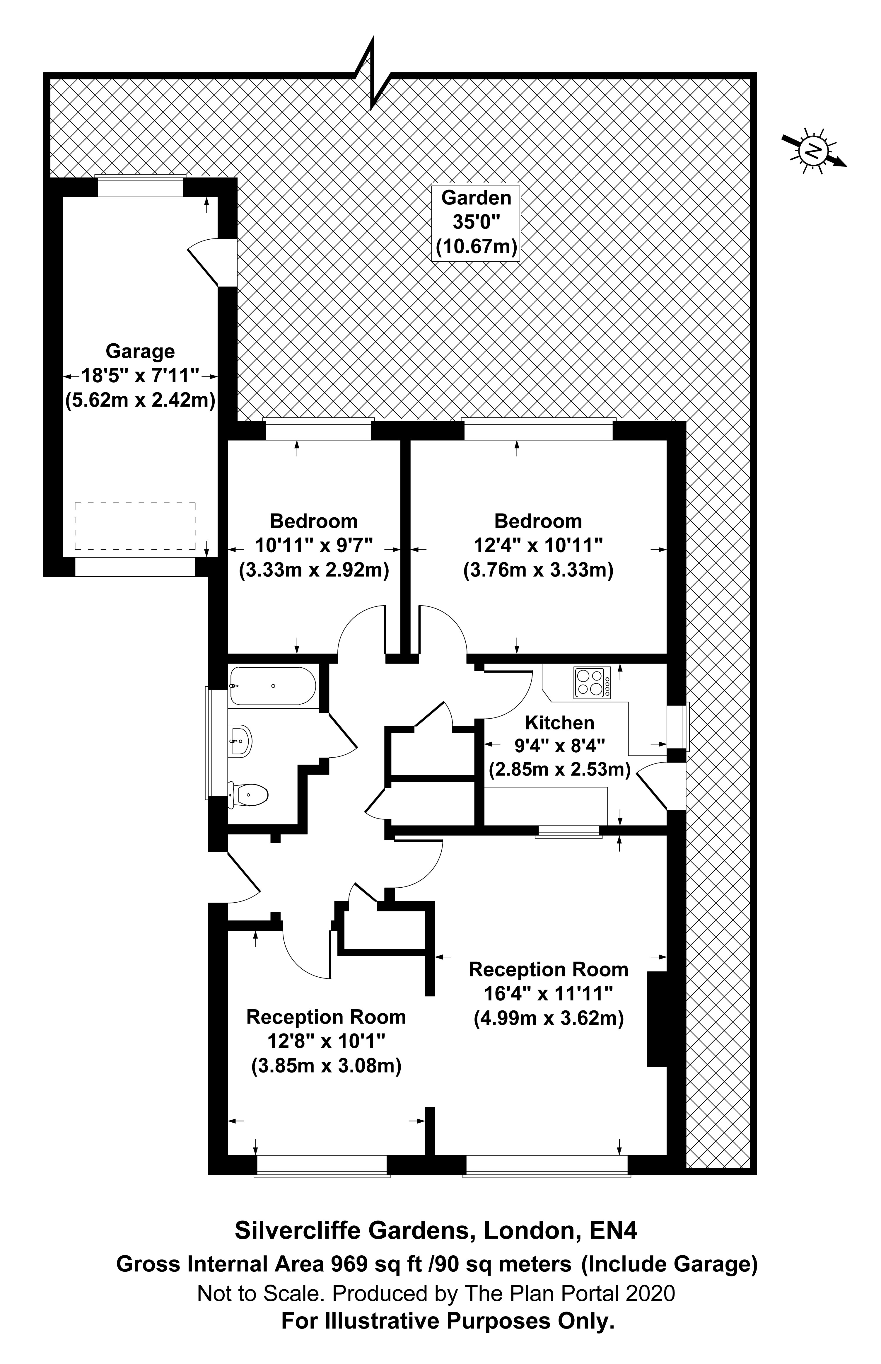 2 bed bungalow for sale in Barnet, EN4 9QT - Property Floorplan