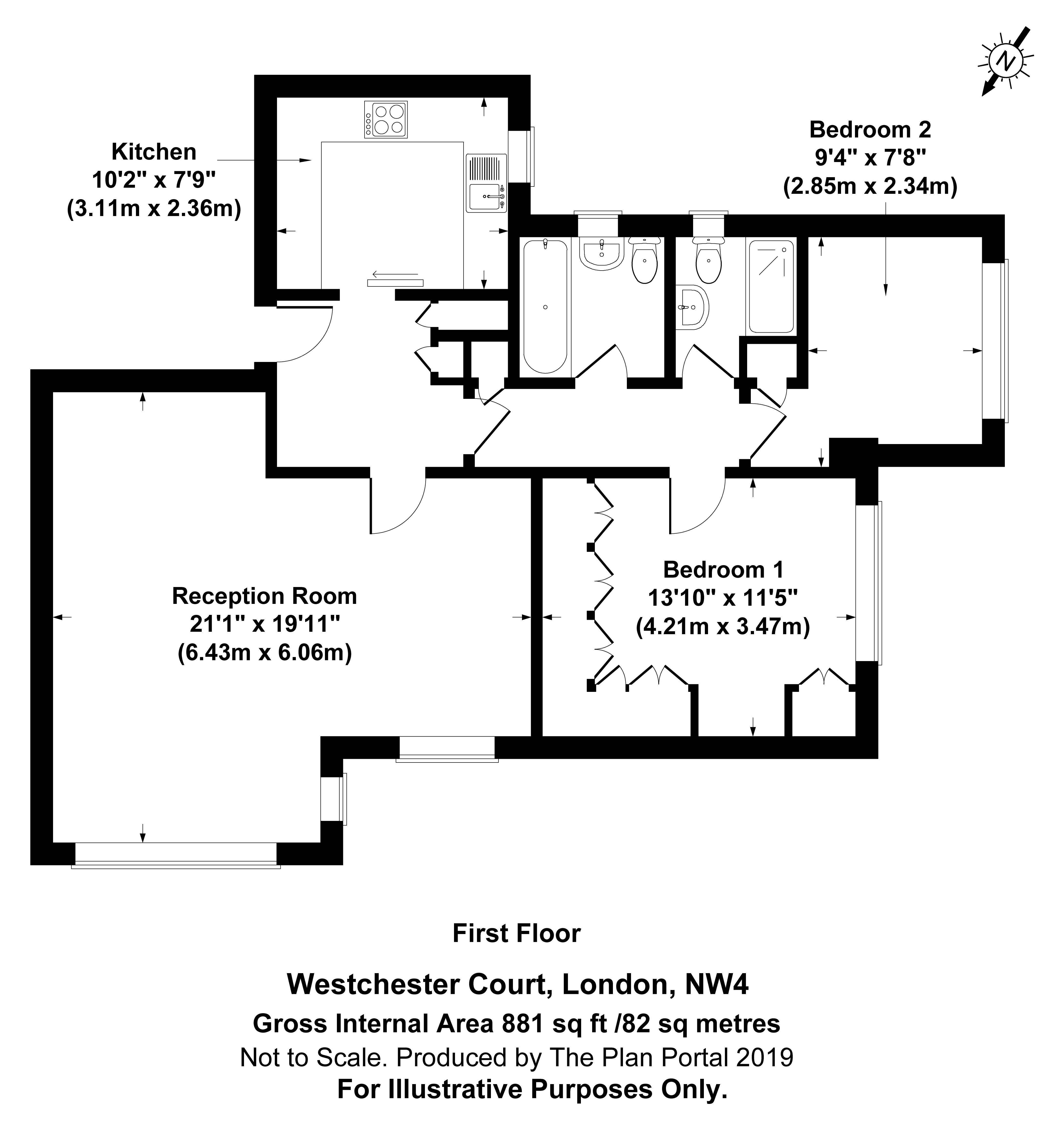 2 bed apartment for sale in Hendon, NW4 1RB - Property Floorplan