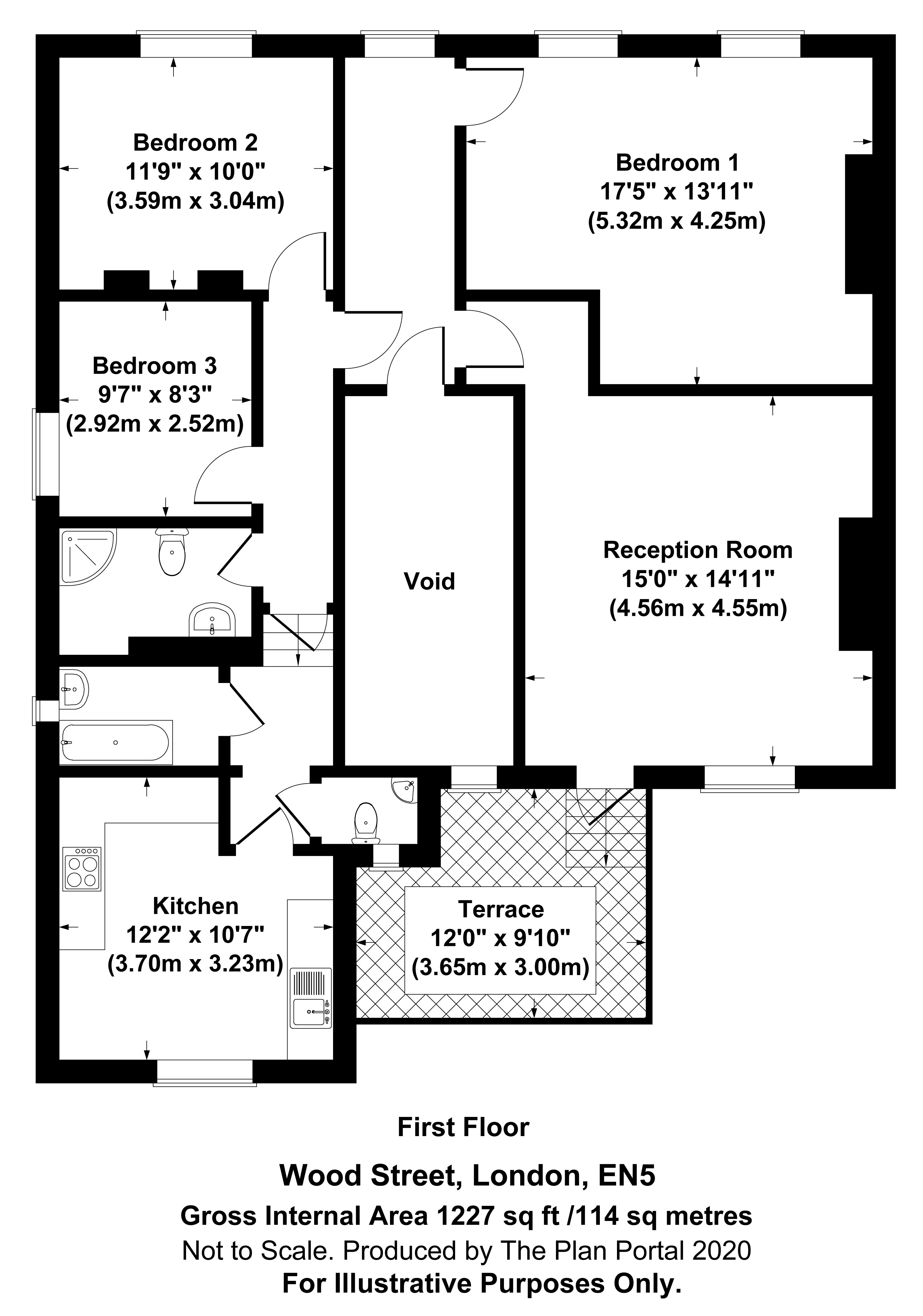 3 bed apartment to rent in Wood Street, High Barnet - Property Floorplan
