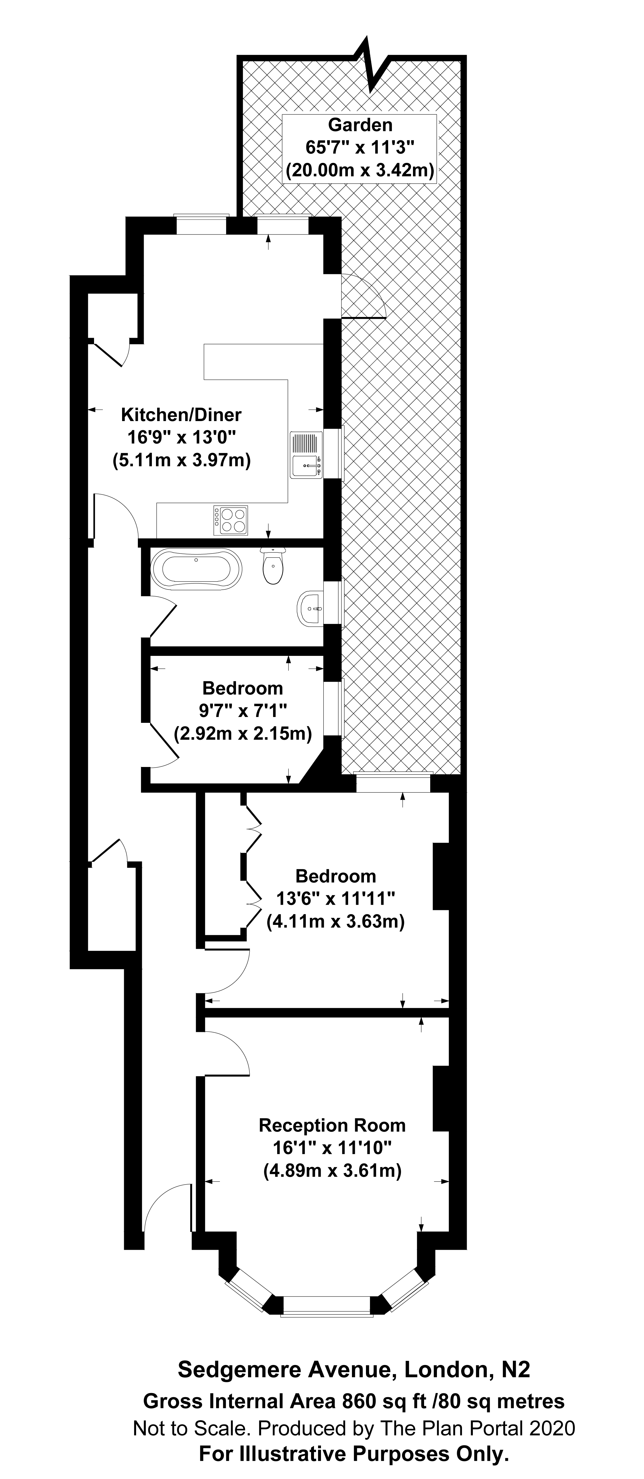 2 bed apartment for sale in East Finchley, N2 0SX - Property Floorplan