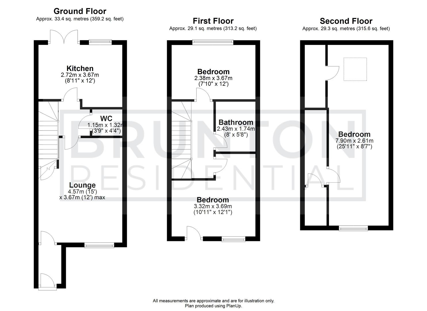 3 bed town house for sale in Greville Gardens, Newcastle Upon Tyne - Property Floorplan