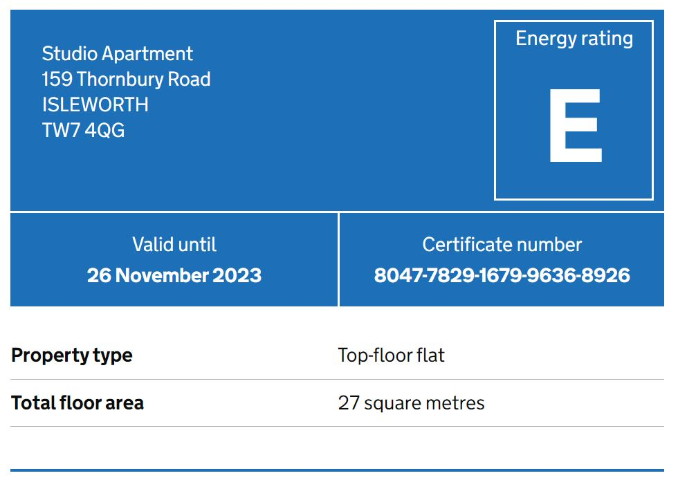 Studio flat to rent in Thornbury road, Osterley, Middlesex - Property EPC