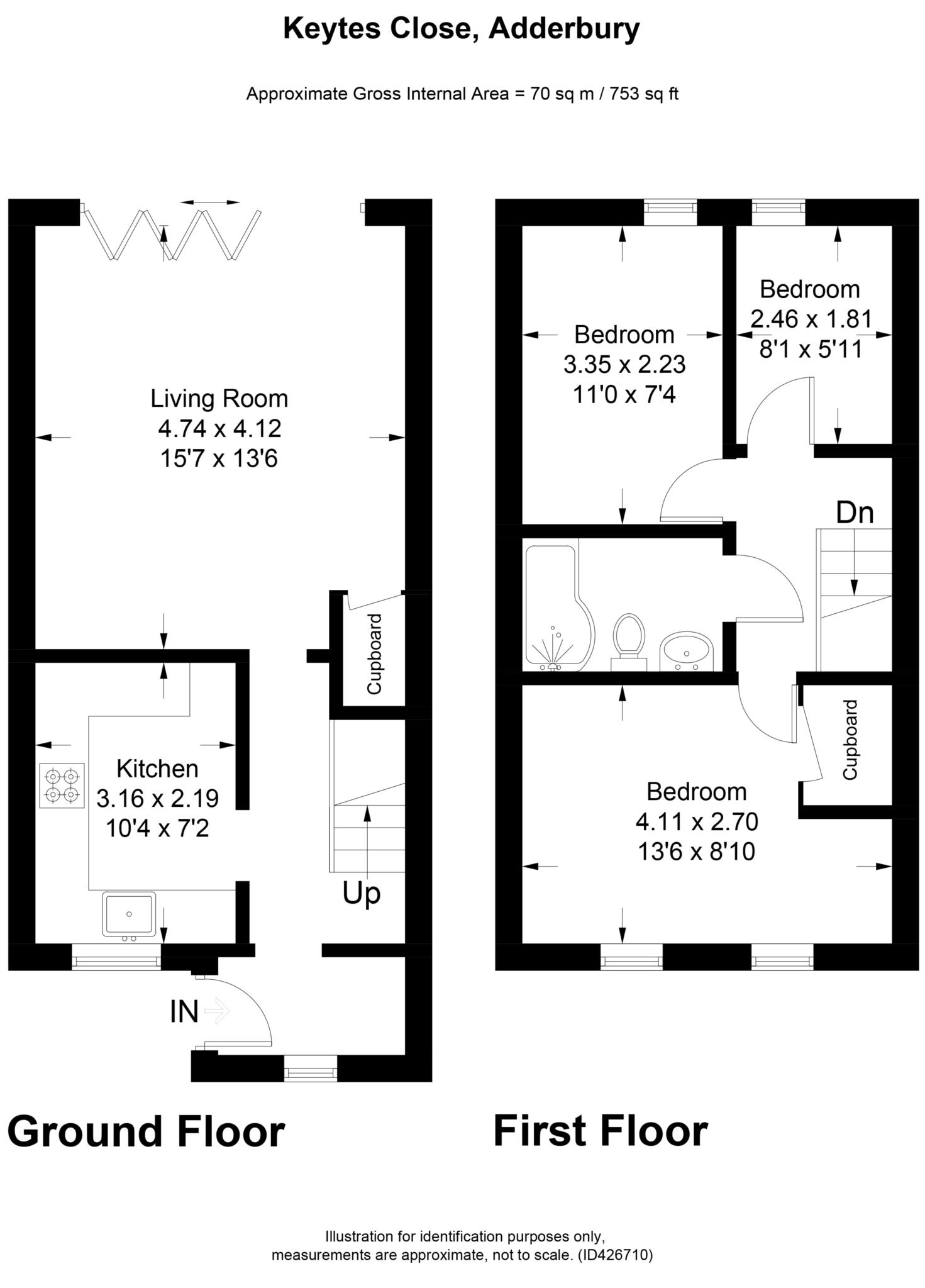 3 bed terraced house to rent in Keytes Close, Adderbury, OX17 - Property Floorplan