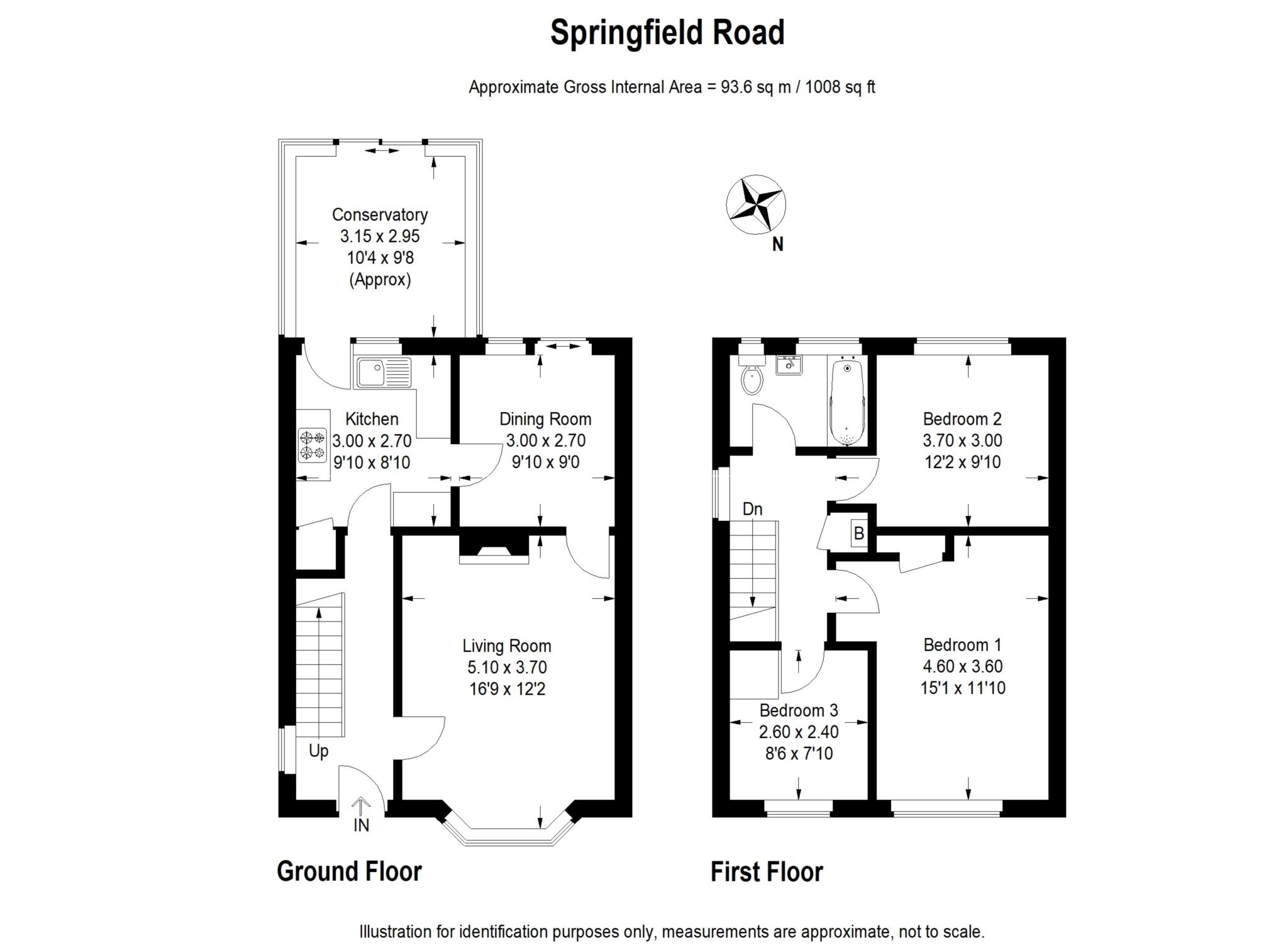 3 bed semi-detached house to rent in Springfield Road, Kidlington, OX5 - Property Floorplan