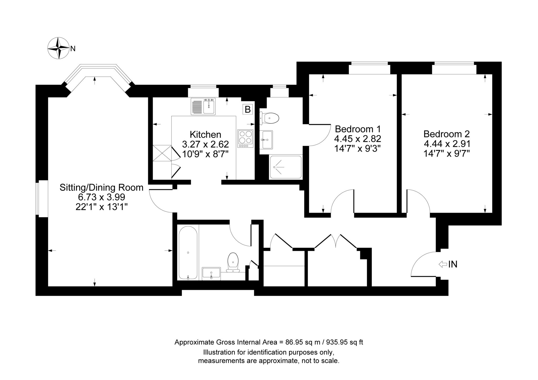 2 bed apartment to rent in Astrop Grange, Kings Sutton, OX17 - Property Floorplan