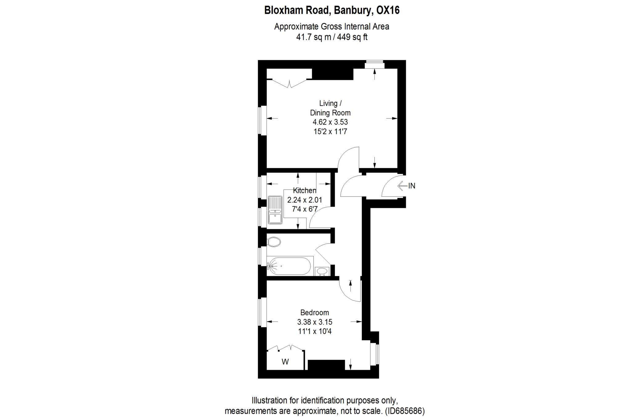 1 bed flat to rent in Bloxham Road, Banbury, OX16 - Property Floorplan