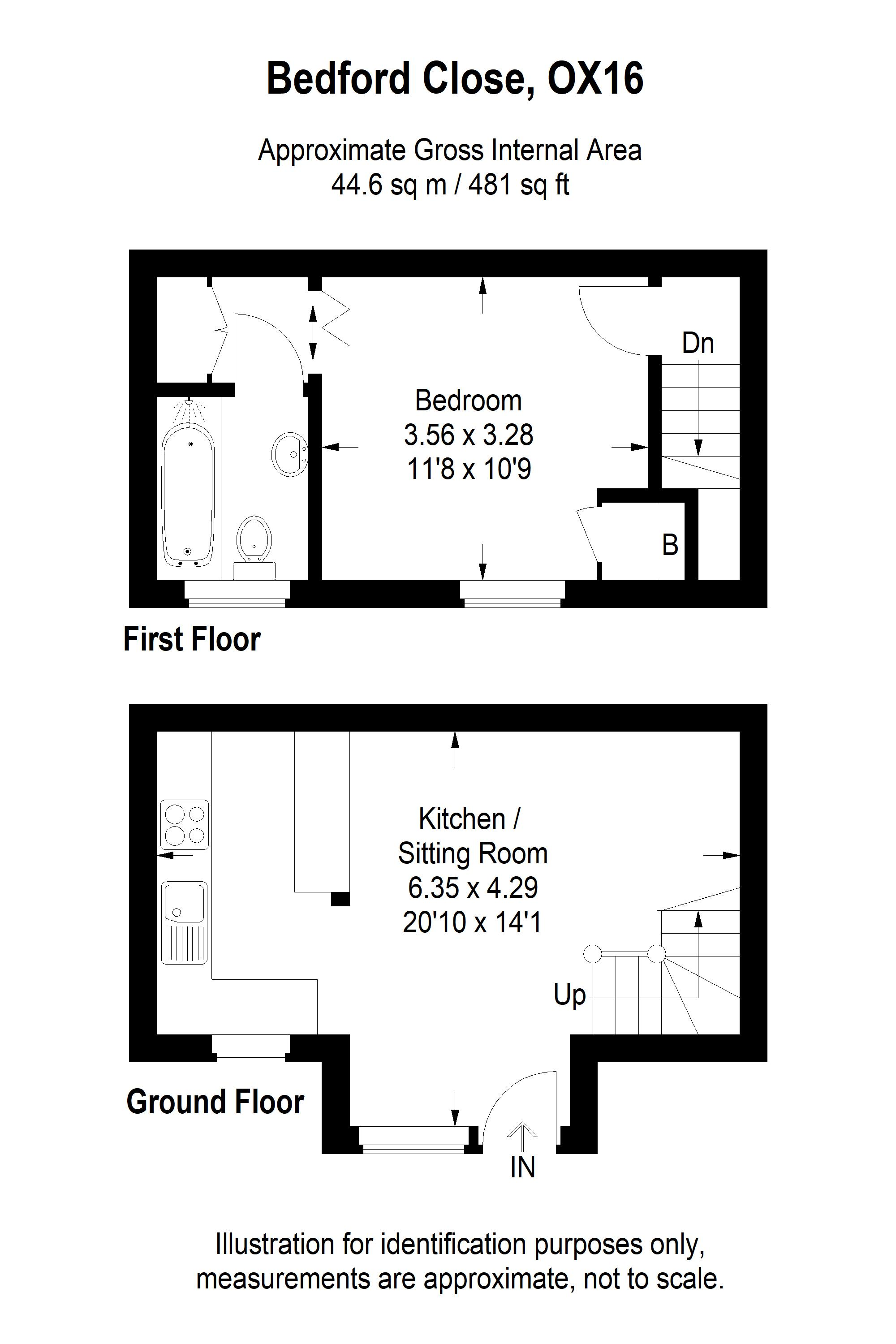 1 bed end of terrace house to rent in Bedford Close, Banbury, OX16 - Property Floorplan