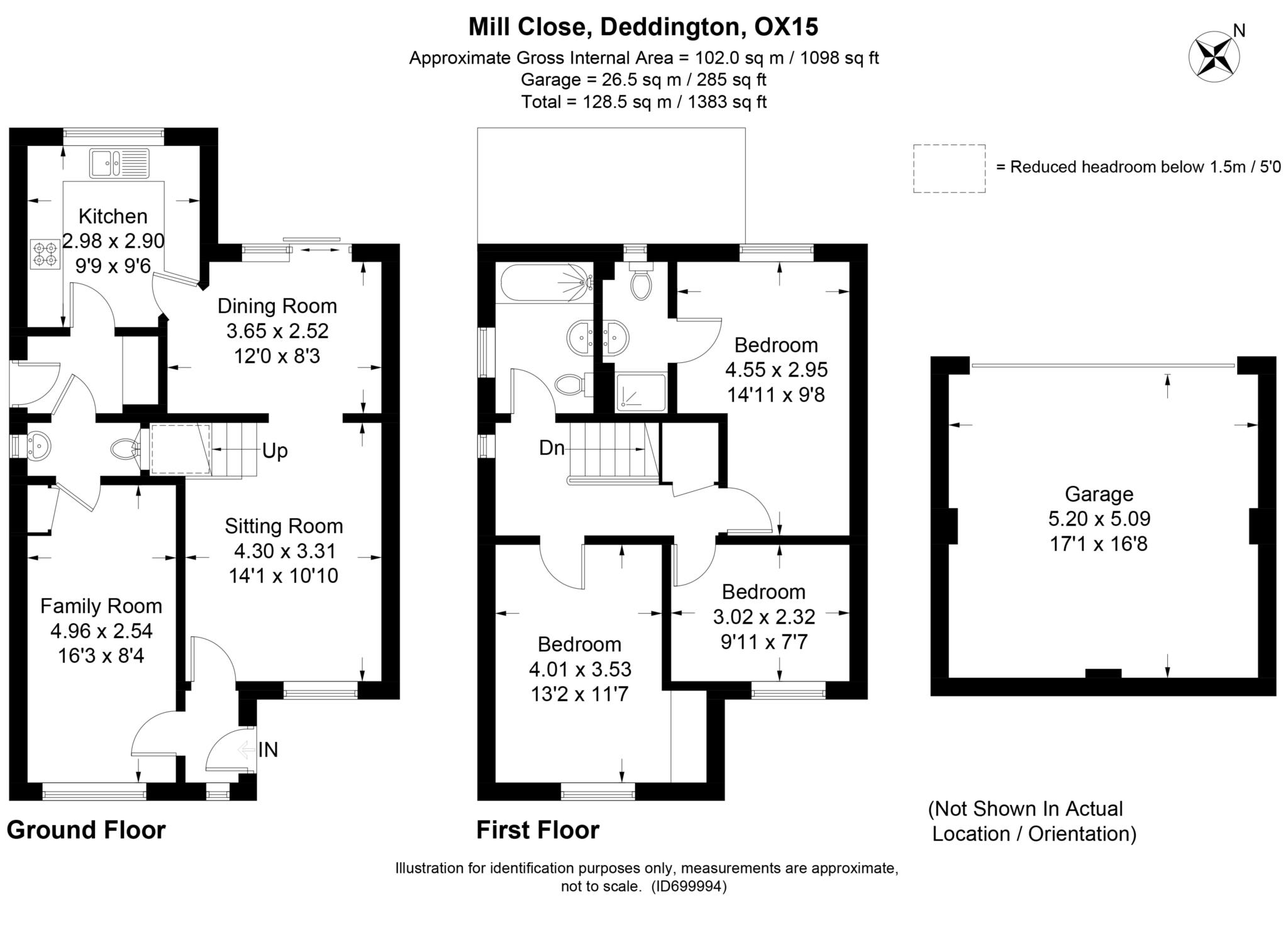 3 bed detached house to rent in Mill Close, Deddington, OX15 - Property Floorplan