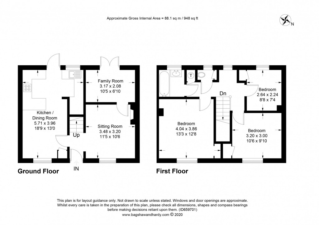 3 bed terraced house to rent in  Sullington Mead,  Horsham, RH12 - Property Floorplan