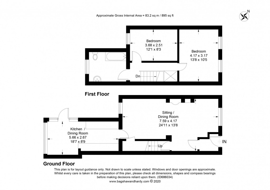 2 bed terraced house for sale in  Howard Road,  Dorking, RH5 - Property Floorplan