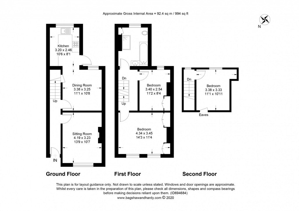 3 bed terraced house for sale in  Holmesdale Road,  Dorking, RH5 - Property Floorplan
