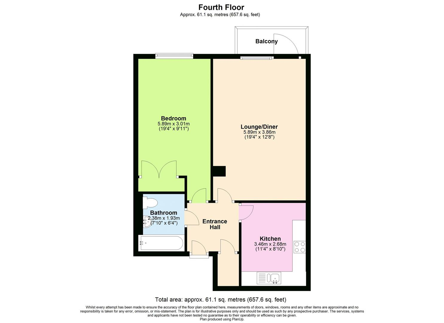1 bed apartment for sale in Chandlery Way, Cardiff - Property Floorplan