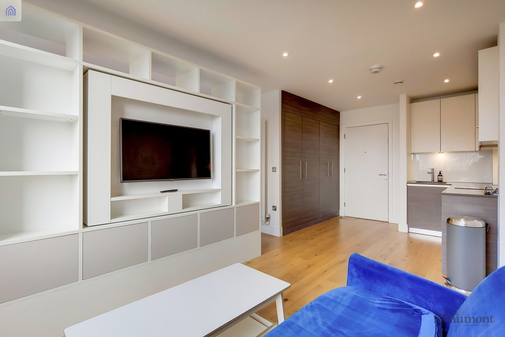 Elegant and exciting studio apartment with a balcony and roof garden. Stunning development, very close to Lewisham Station and DLR. Elevator and stunning south facing views from the 3rd floor.  Its like a smart hotel suite. Part furnished, WIFI included.