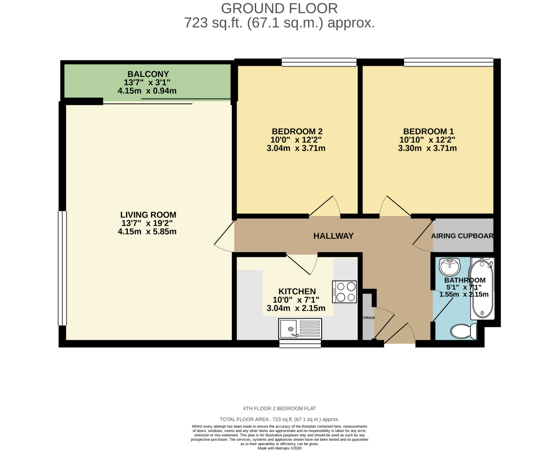 2 bed apartment to rent in The Parade, Birchington, CT7 - Property Floorplan