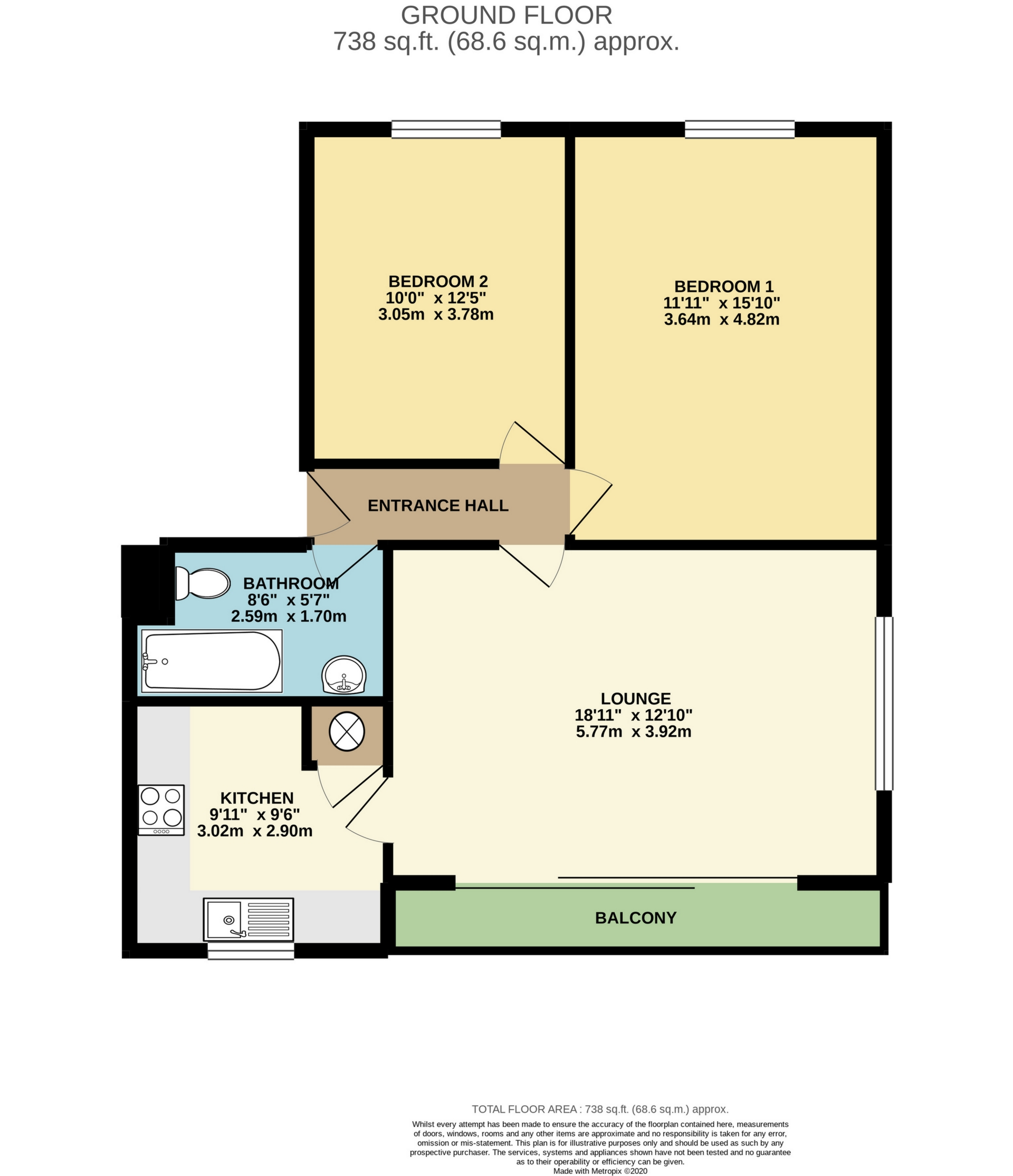 2 bed flat to rent in The Parade, Minnis Bay, CT7 - Property Floorplan