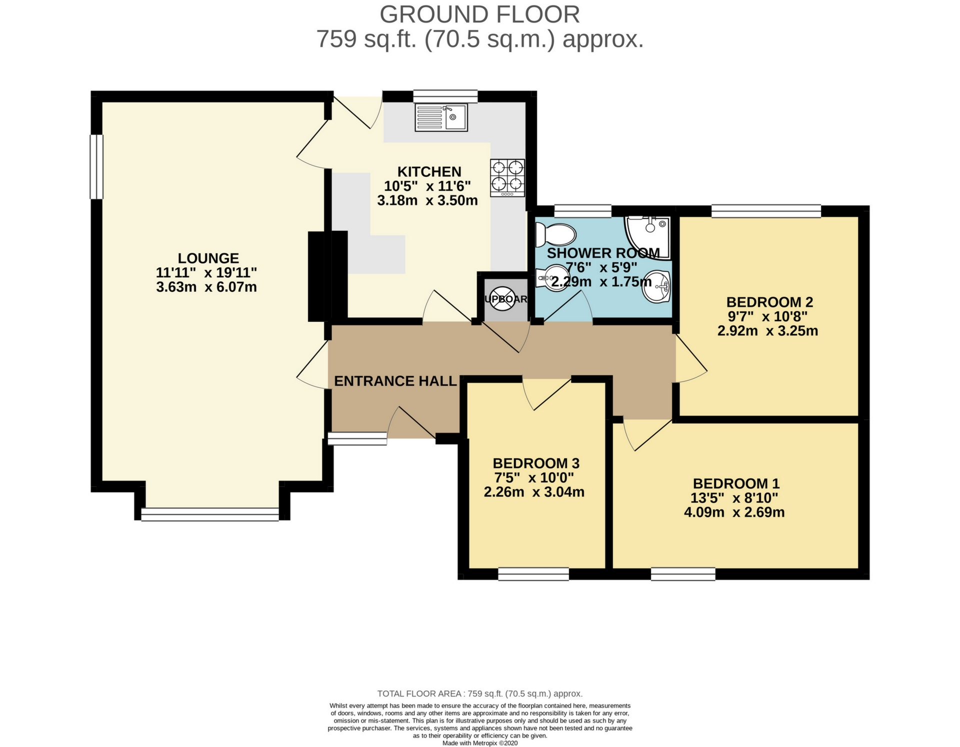 3 bed bungalow to rent in Cheesmans Close, Nr Ramsgate - Property Floorplan