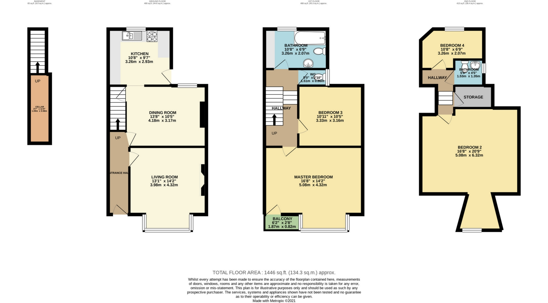 4 bed end of terrace house for sale in Crescent Road, Margate - Property Floorplan