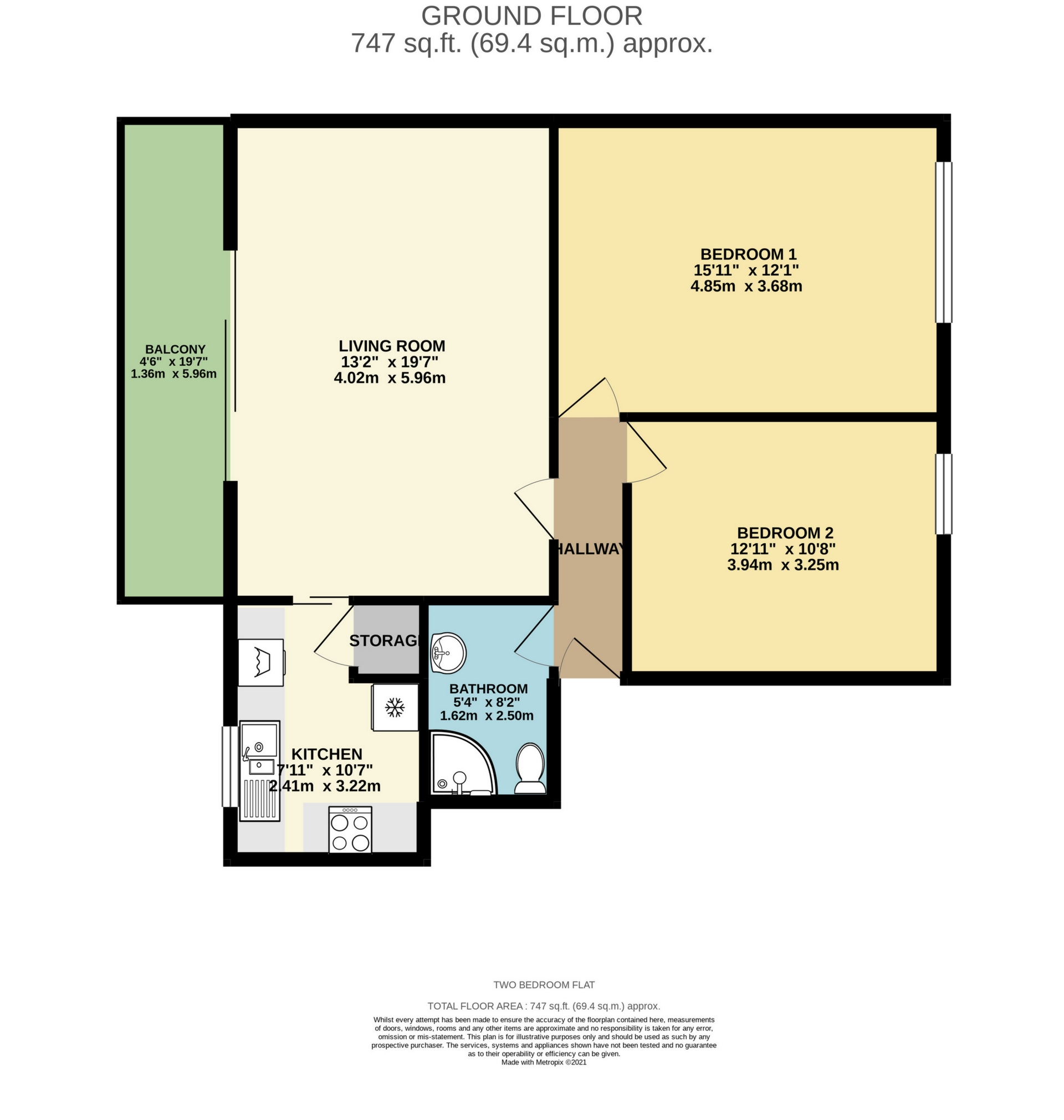 2 bed flat to rent in April Rise, Alfred Road, Birchington - Property Floorplan