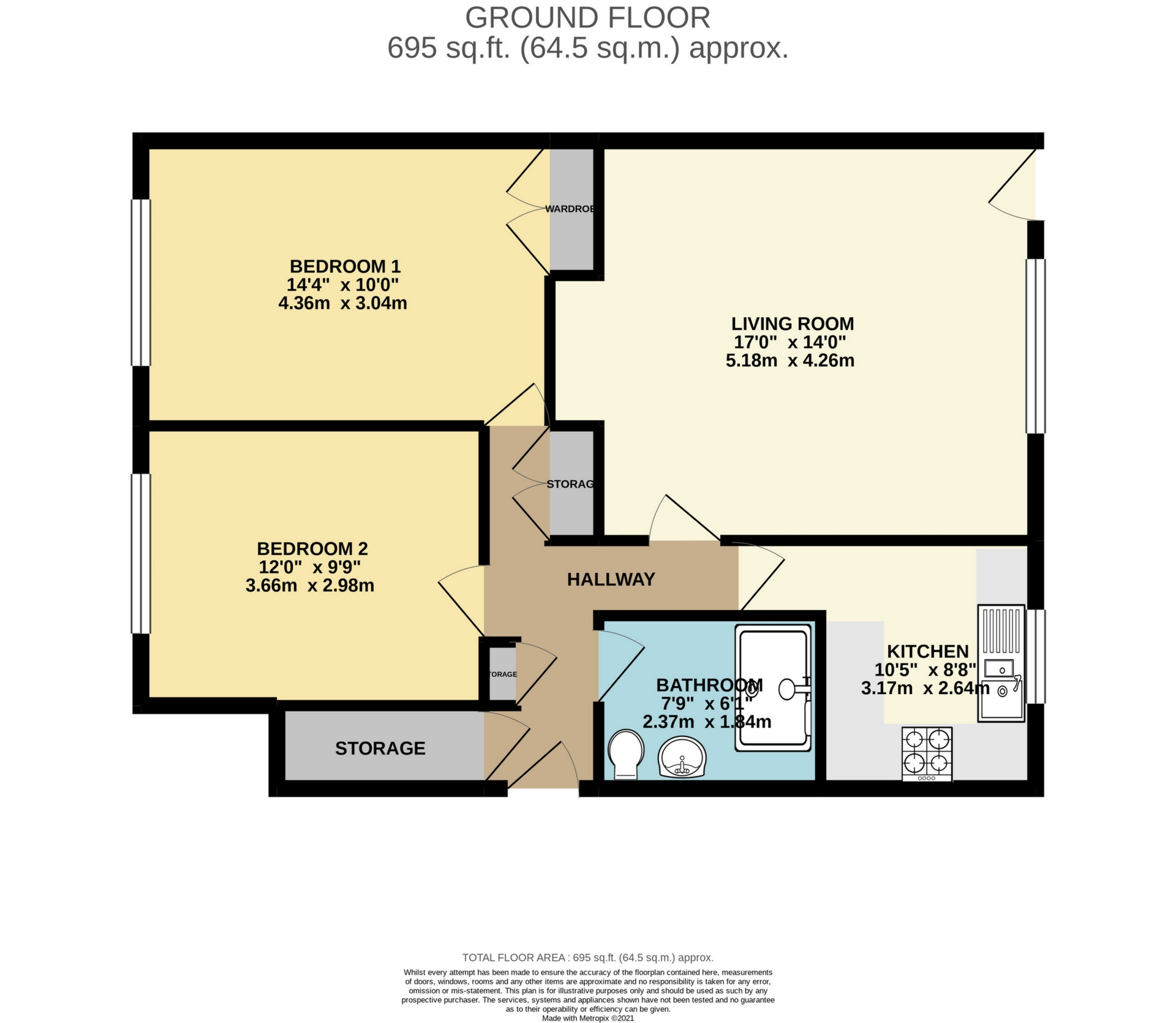 2 bed flat to rent in Gladstone Road, Broadstairs - Property Floorplan