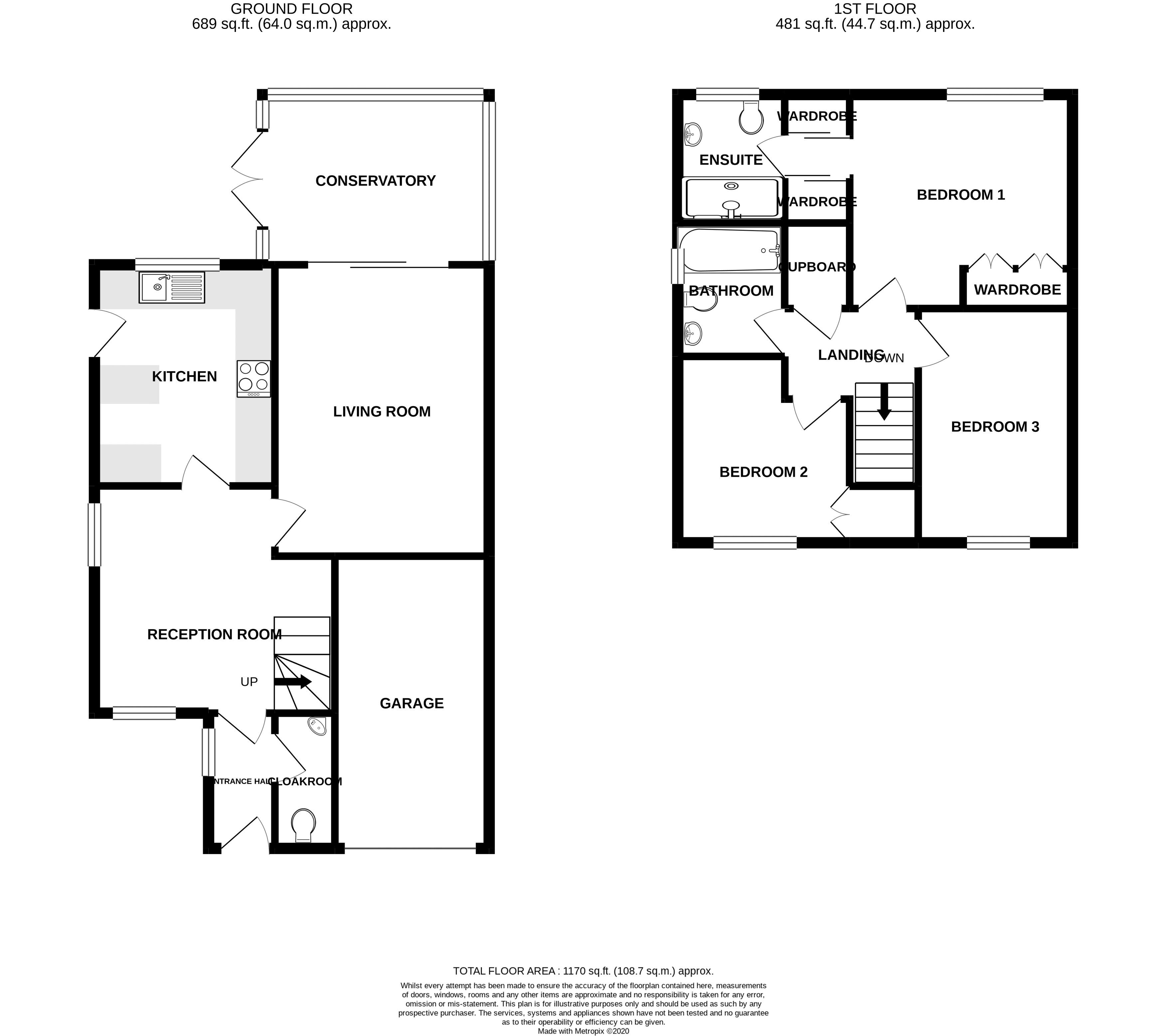 3 bed house for sale in Peacock Close, Chichester - Property Floorplan