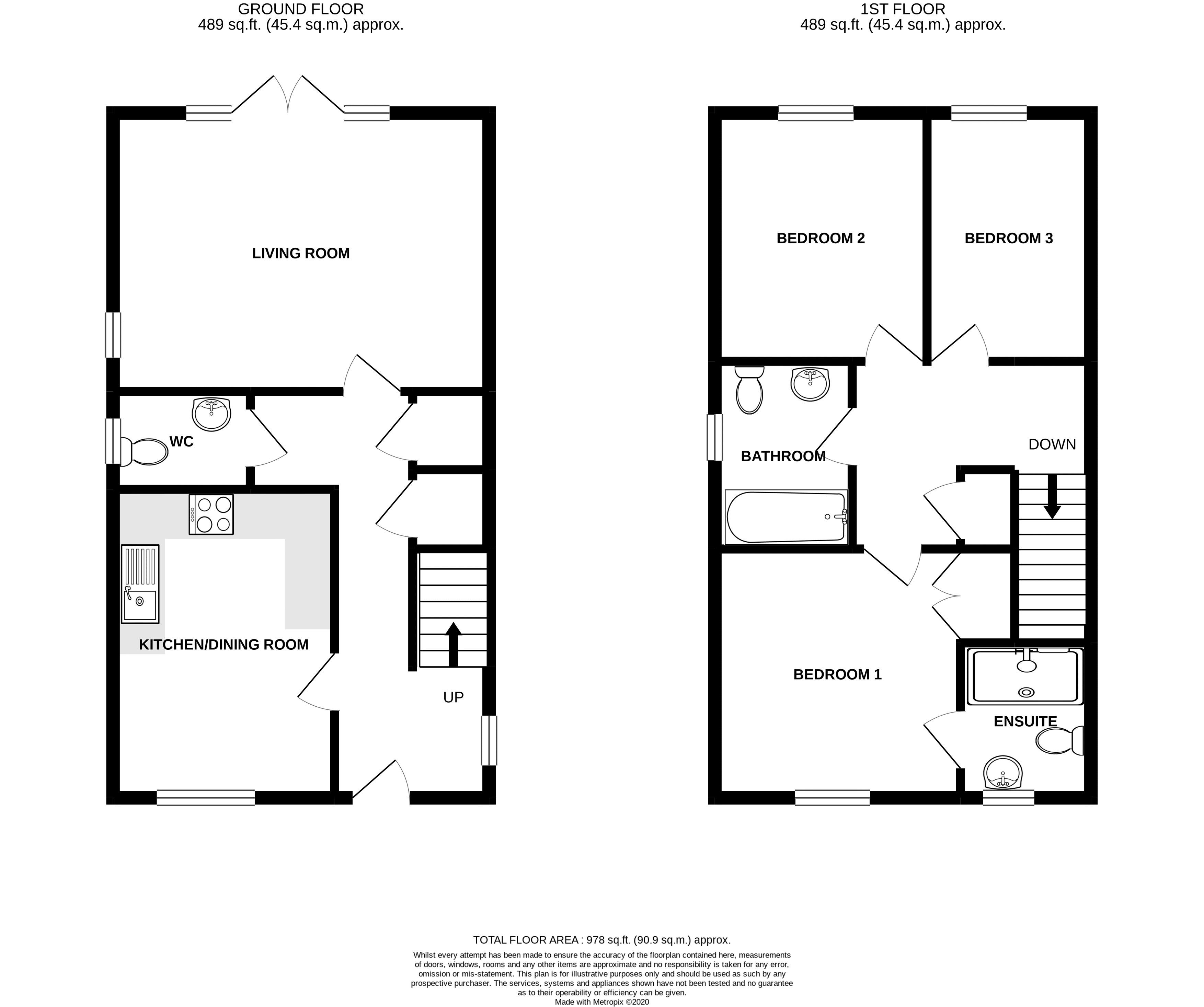 3 bed house for sale in North End Road, Arundel - Property Floorplan