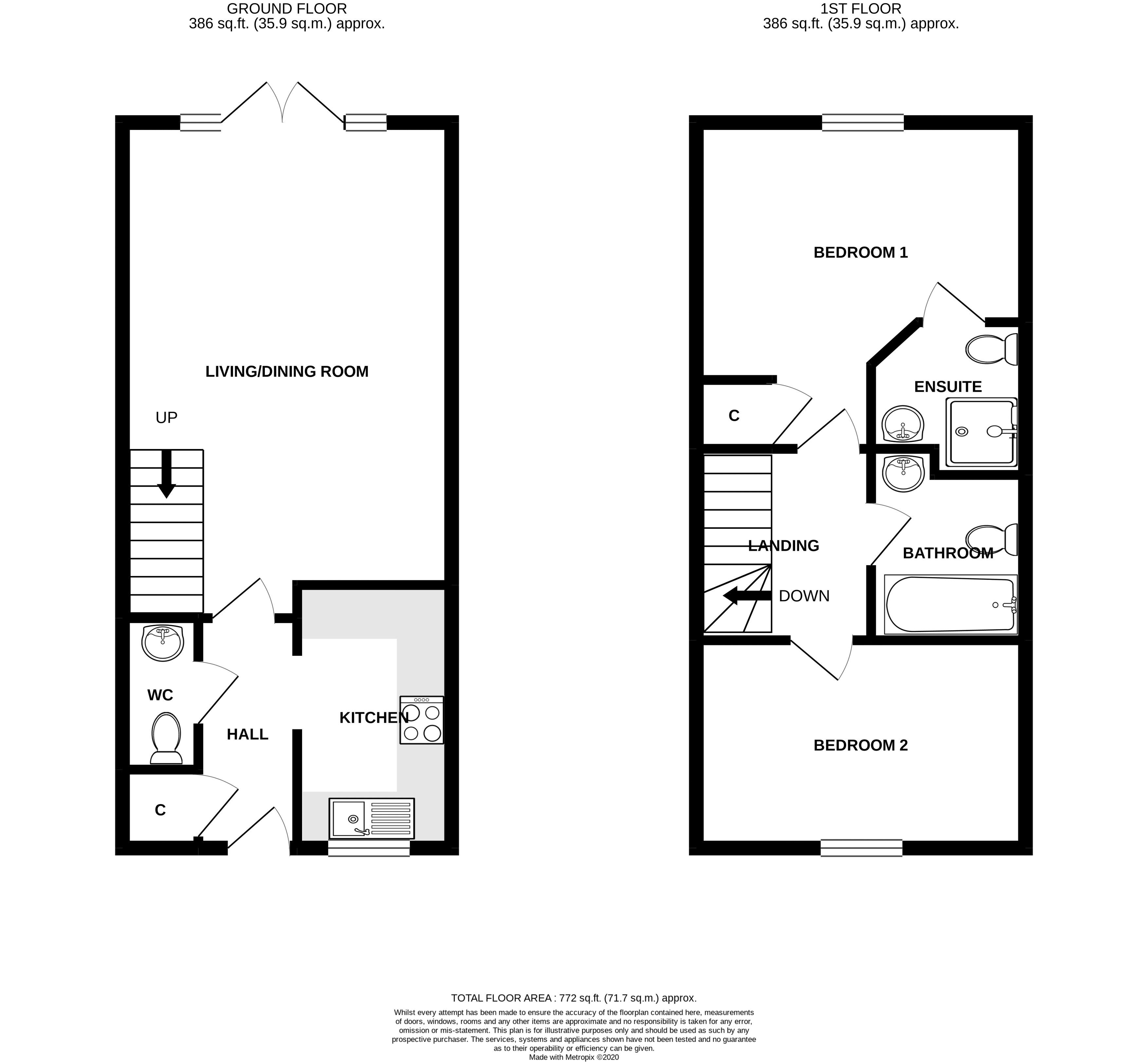2 bed house for sale in Taylors Copse, Chichester - Property Floorplan