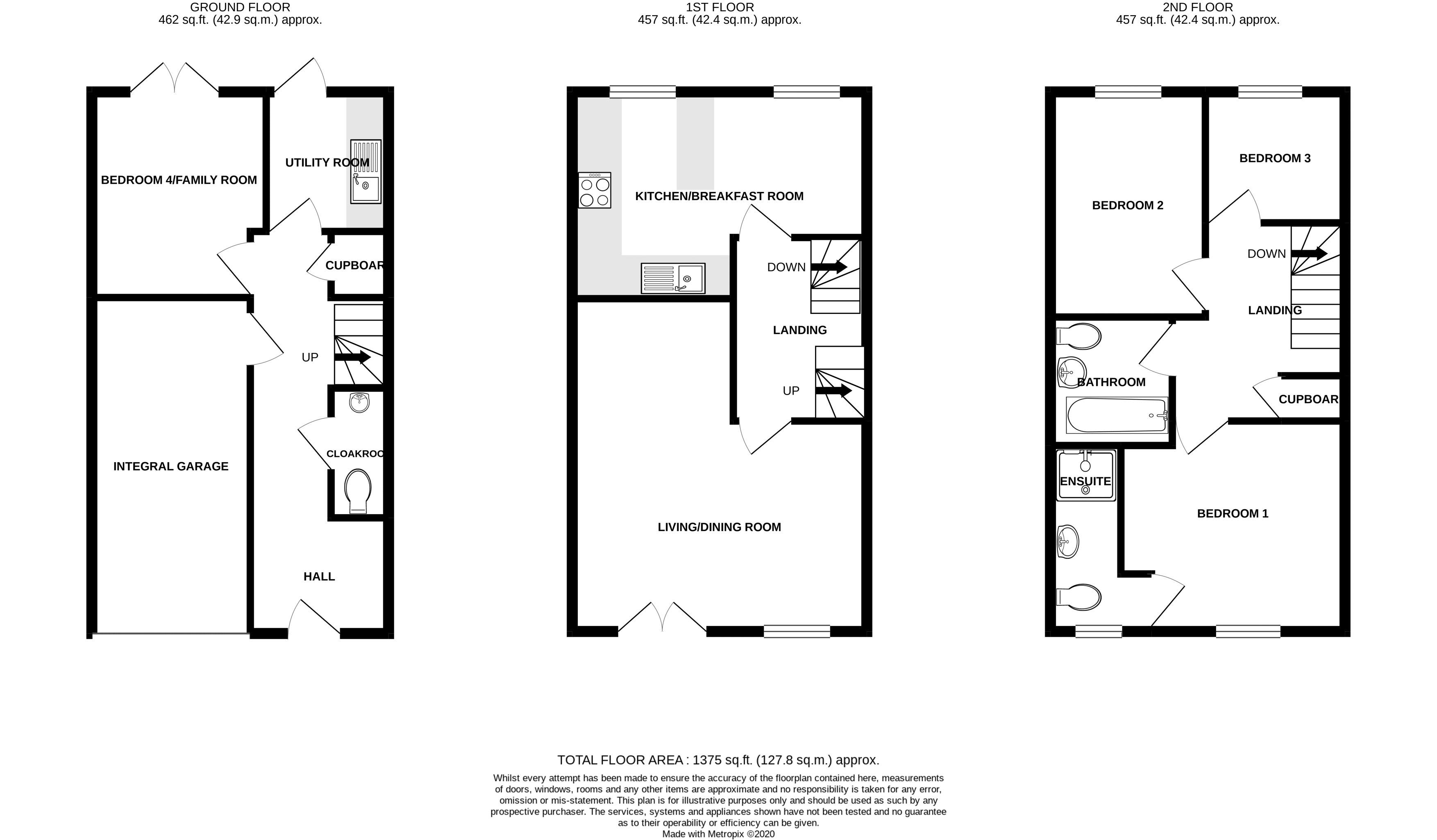 3 bed house for sale in Neville Duke Way, Chichester - Property Floorplan