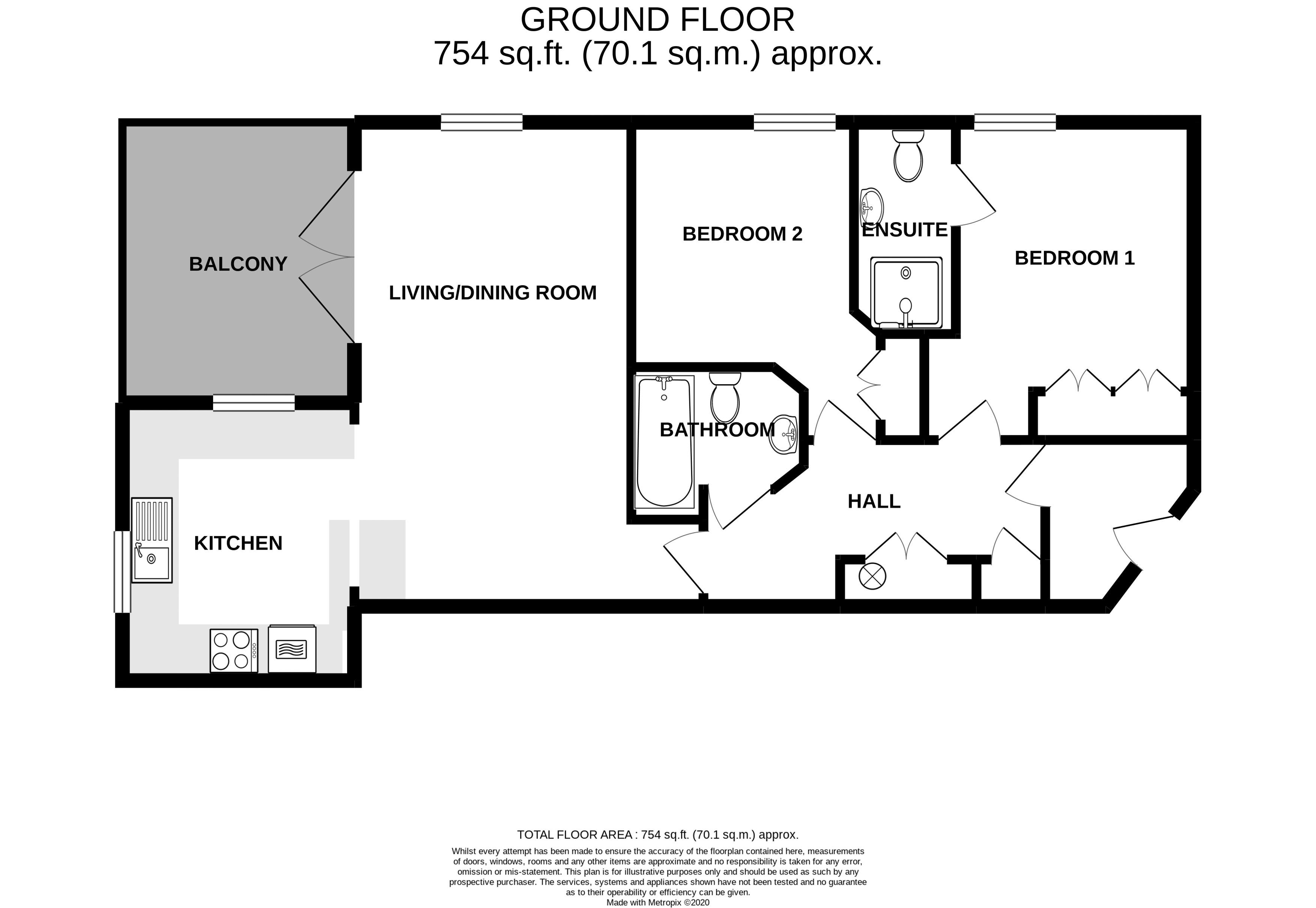 2 bed flat for sale in Canal Wharf, Chichester - Property Floorplan