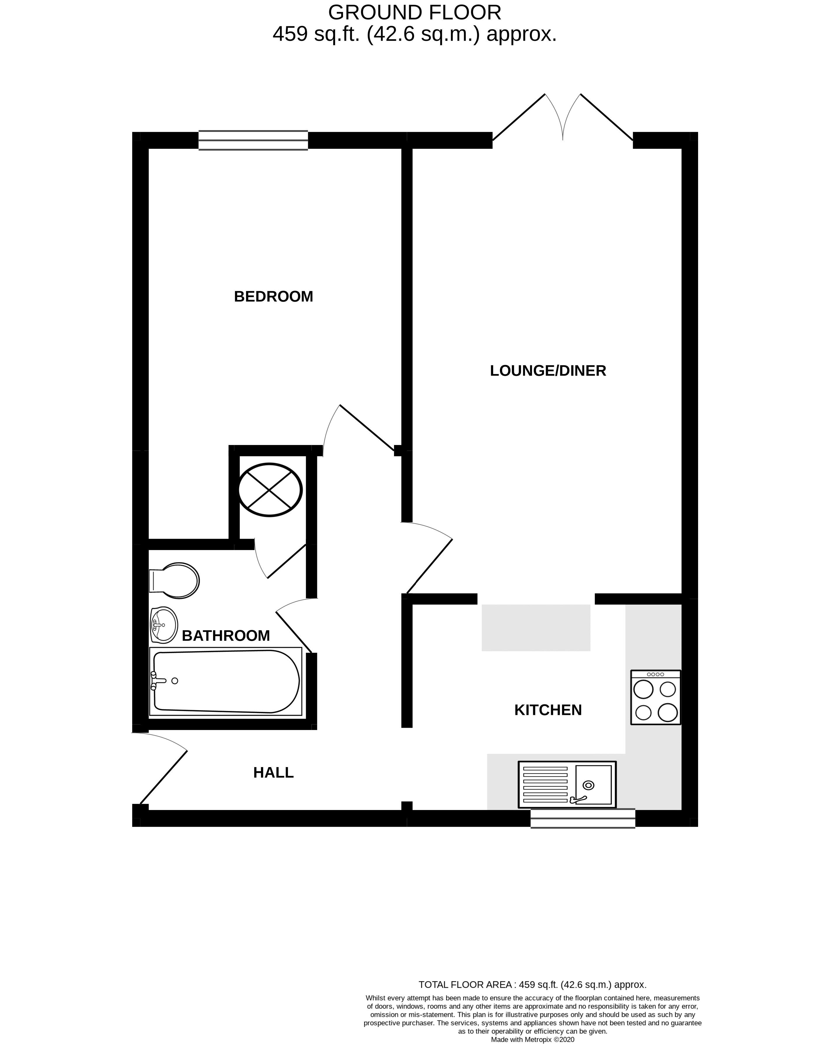 1 bed flat for sale in Joys Croft, Chichester - Property Floorplan