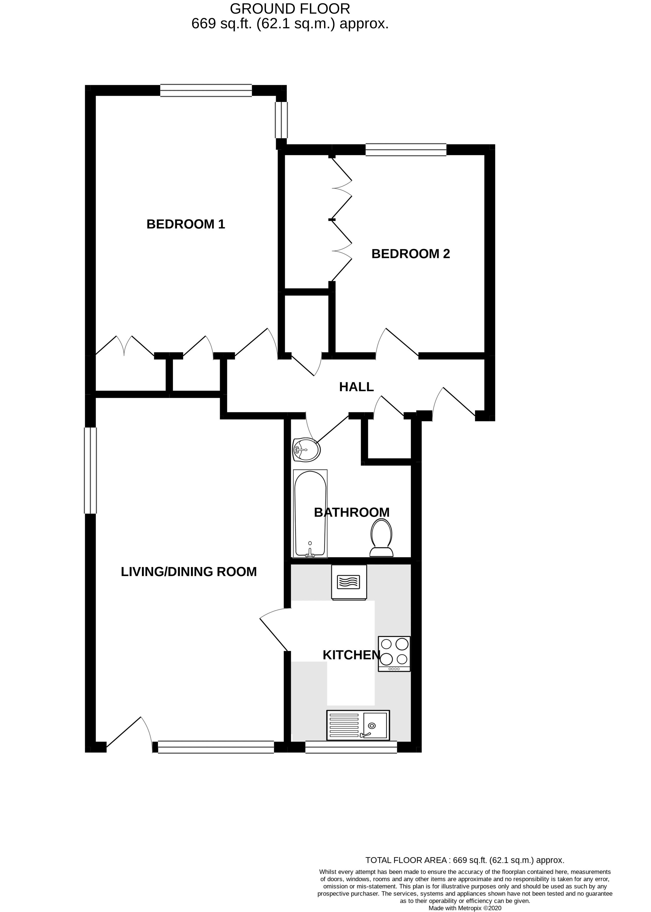 2 bed flat for sale in Broyle Close, Chichester - Property Floorplan